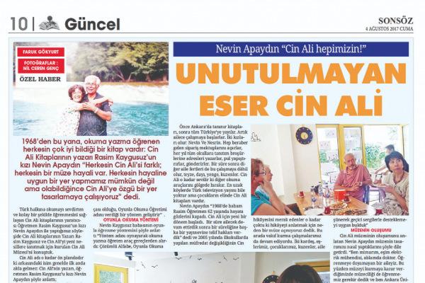 Sonsöz, Faruk GÖKYURT, Ağustos 2017