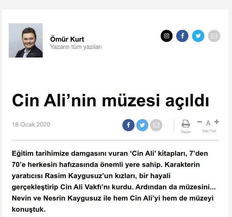 Cin Ali'nin Müzesi Açıldı - Hürriyet -  18.01.2020